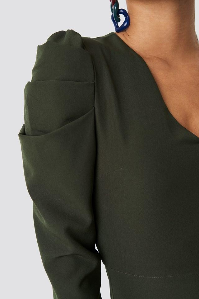 Ruffle Sleeve Detail Dress Khaki