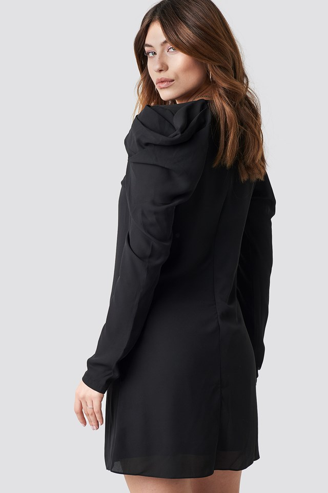 Ruffle Sleeve Mini Dress Black
