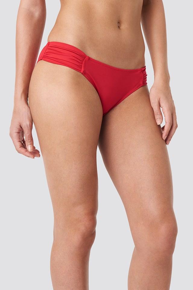 Ruffled Bikini Bottom Red