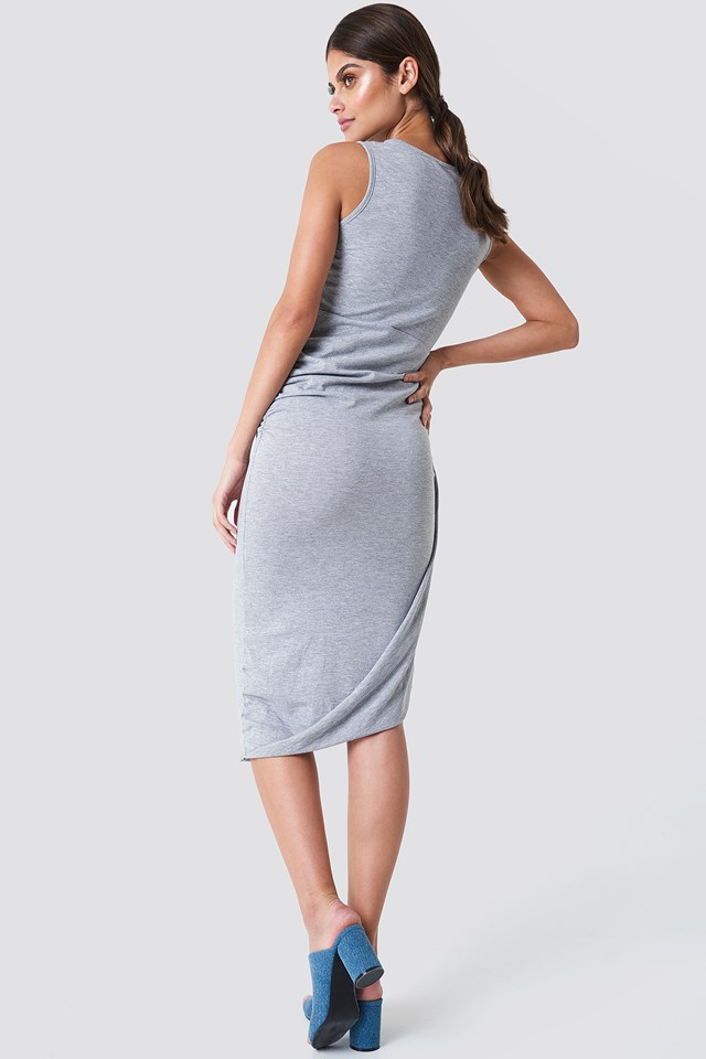 Rushed Side Jersey Dress Gray