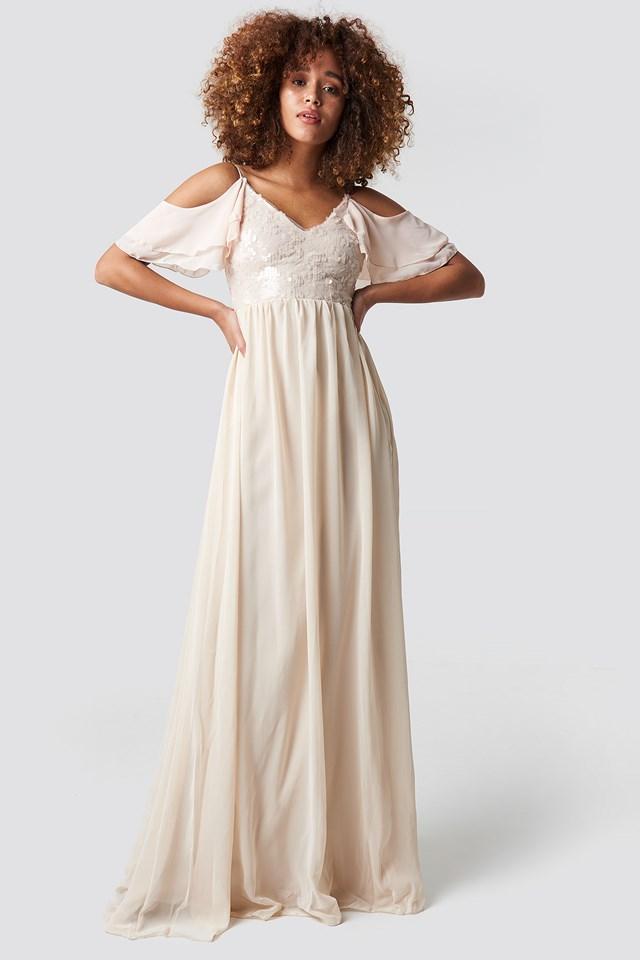 Sequin Detailed Evening Dress Powder Pink