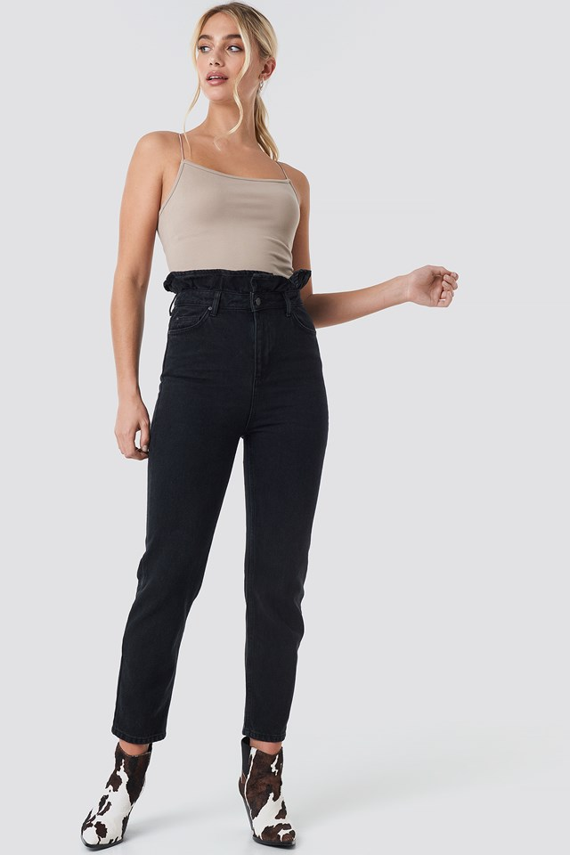 Shaper Detail High Waist Mom Jeans Black