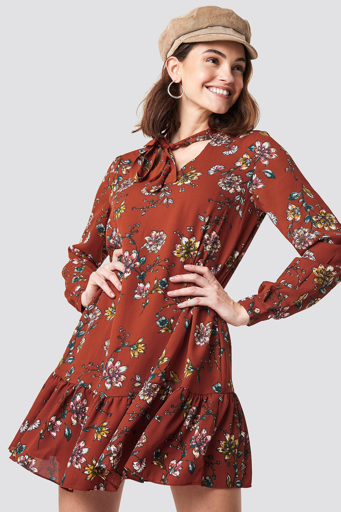 trendyol -  Shawl Collar Mini Dress - Orange