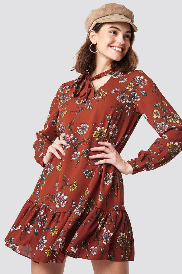 Shawl Collar Mini Dress Cinnamon