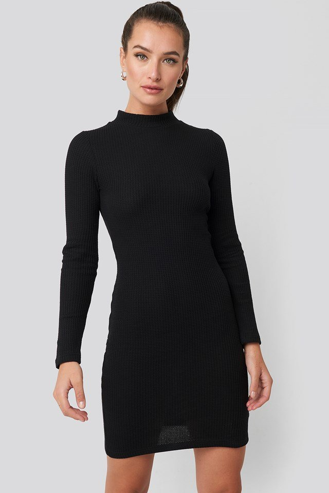 Sheer Neck Knitted Mini Dress Trendyol