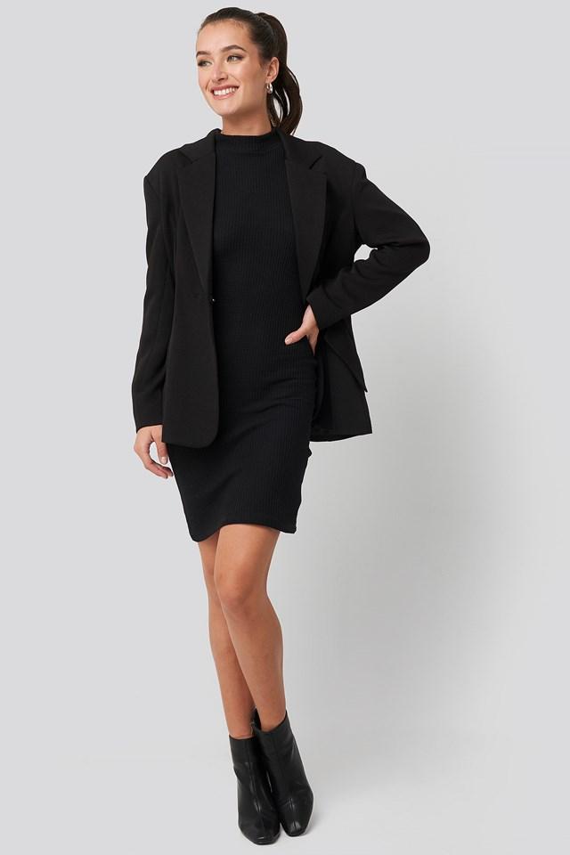 Sheer Neck Knitted Mini Dress Black