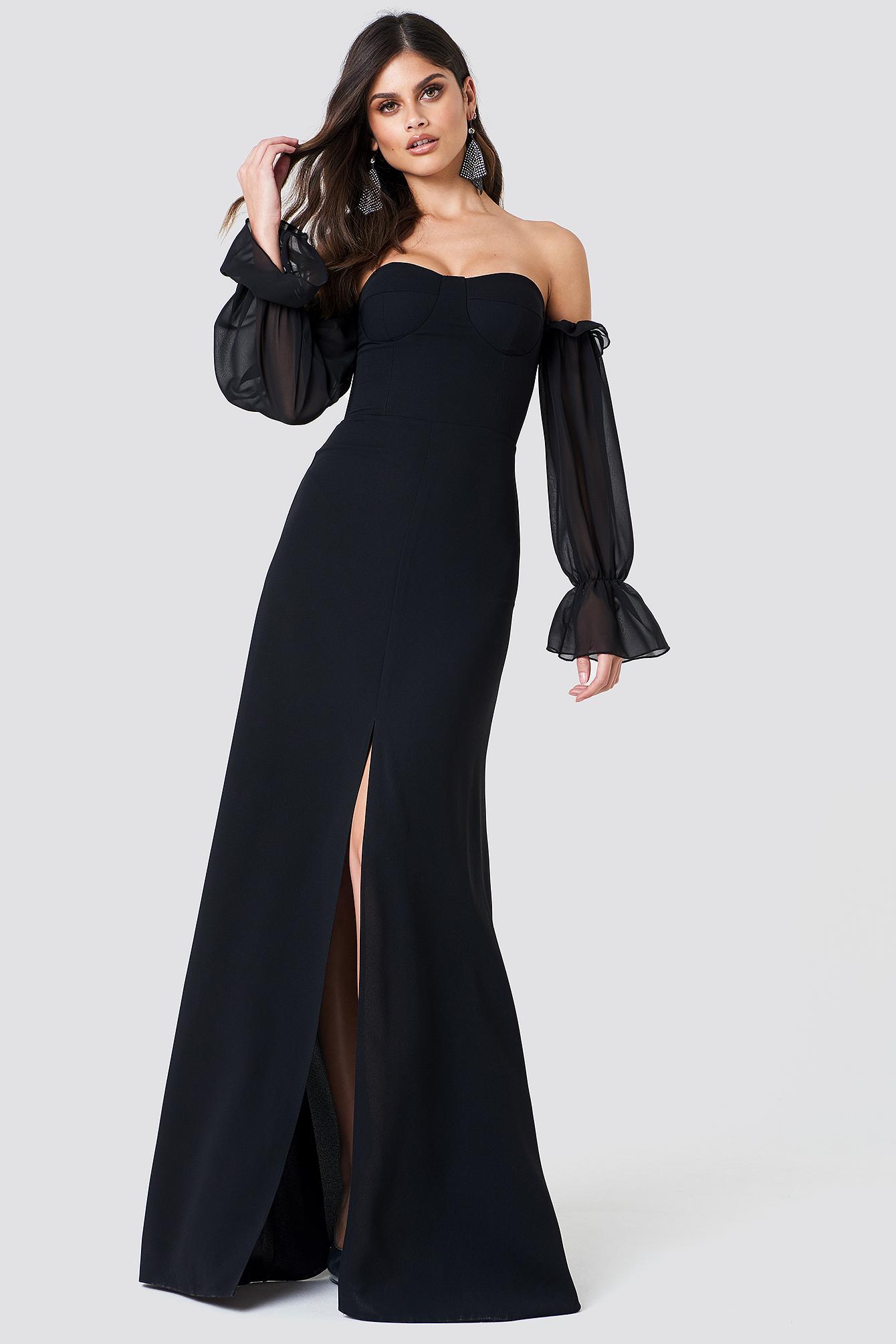 Sleeve Sheer Blackna Sheer Maxi Maxi Sleeve Dress Dress sxQrCBhdt