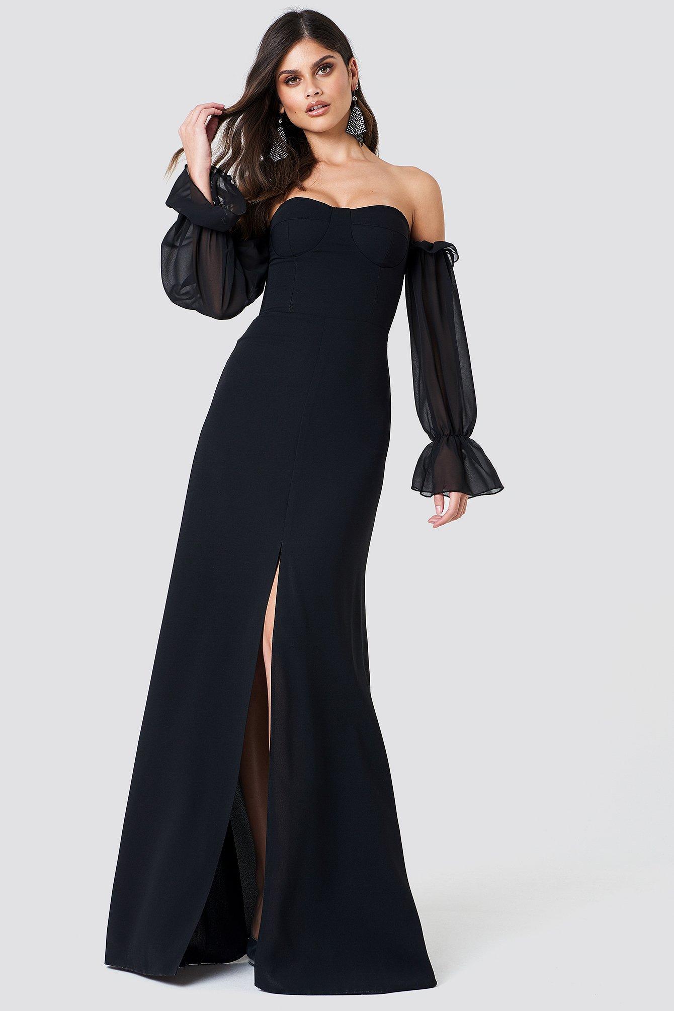 Sheer Sleeve Maxi Dress   na-kd.com