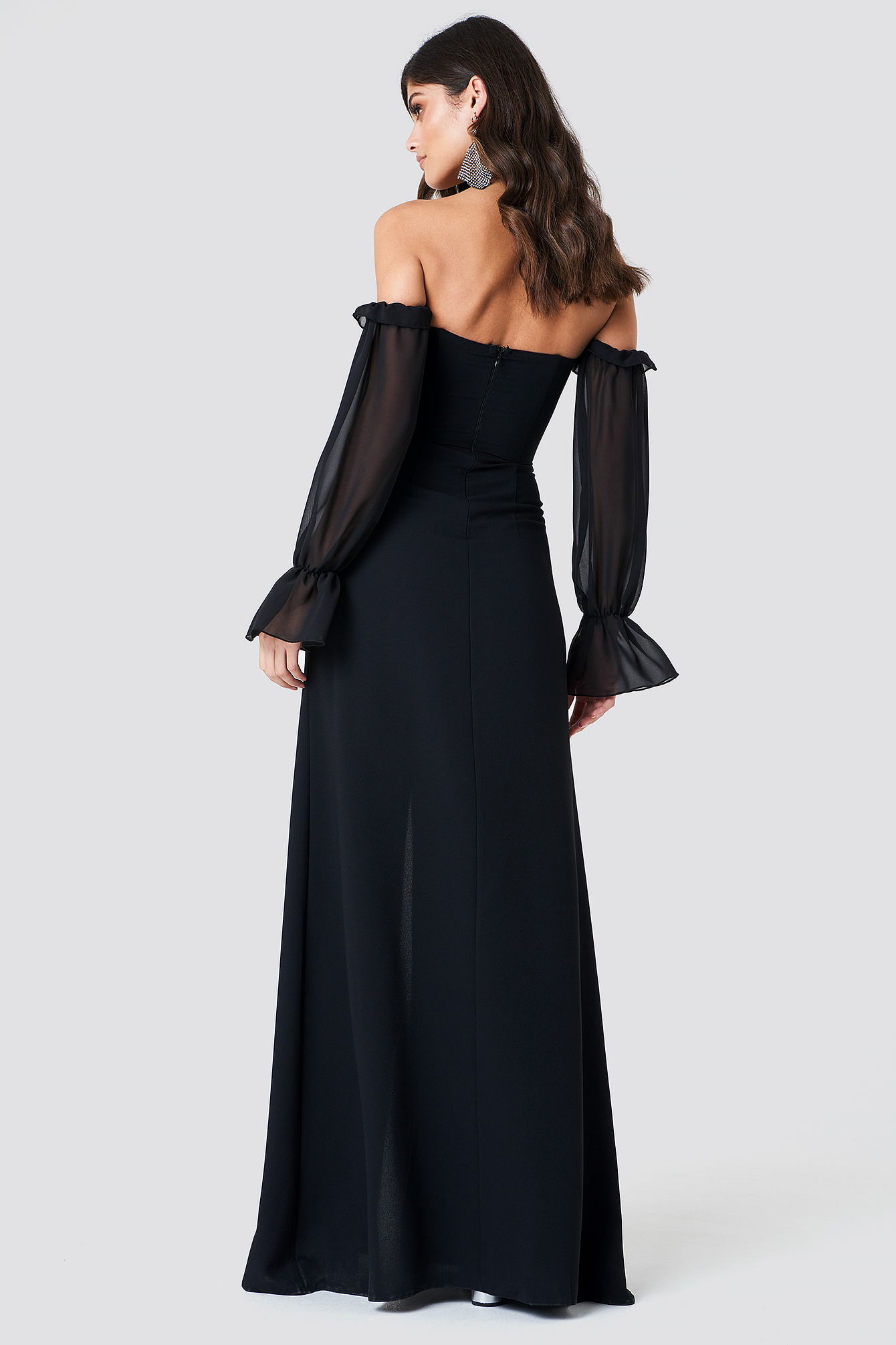 Sheer Sleeve Maxi Dress NA-KD.COM