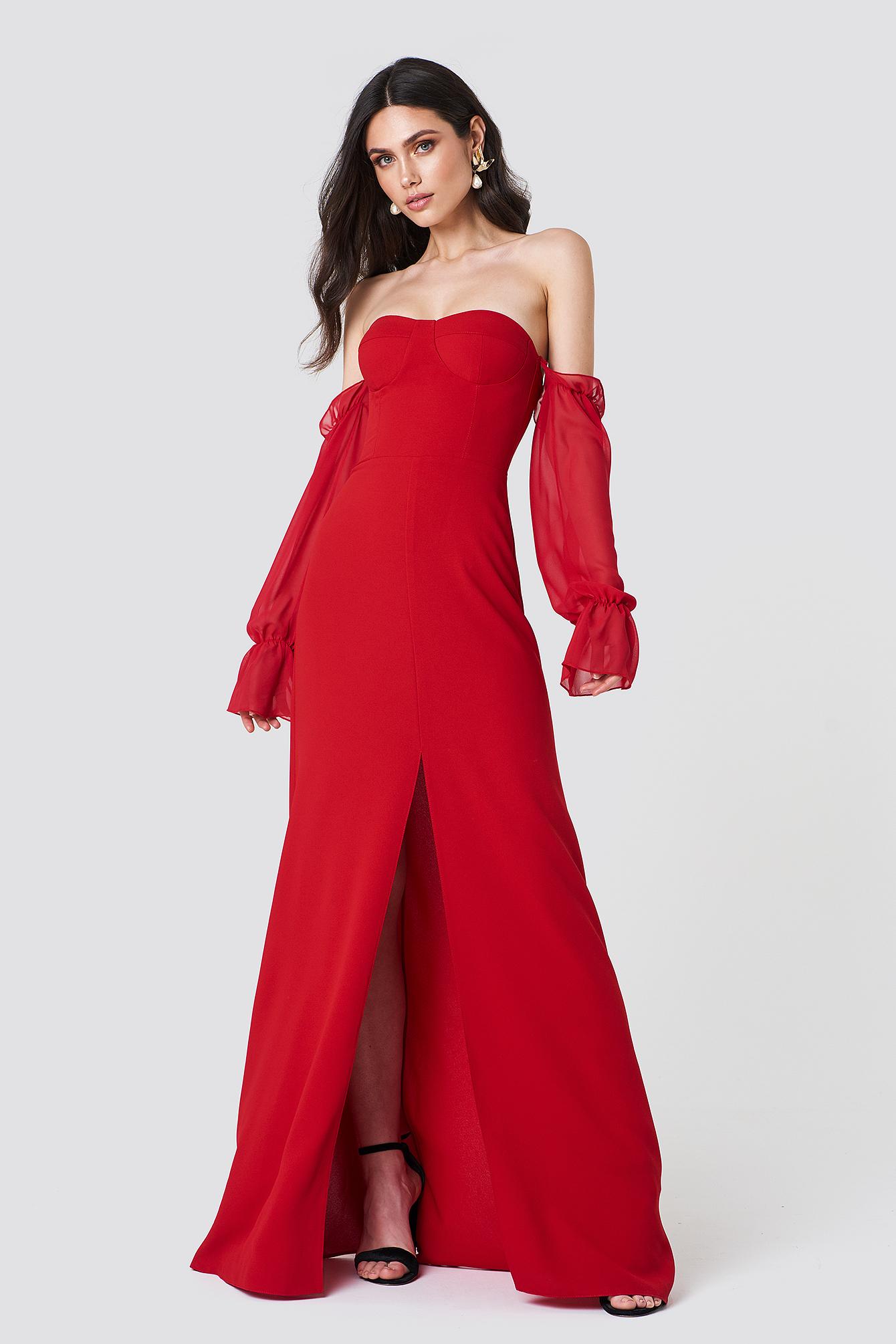 Trendyol Sheer Sleeve Maxi Dress FseUYyPZJ
