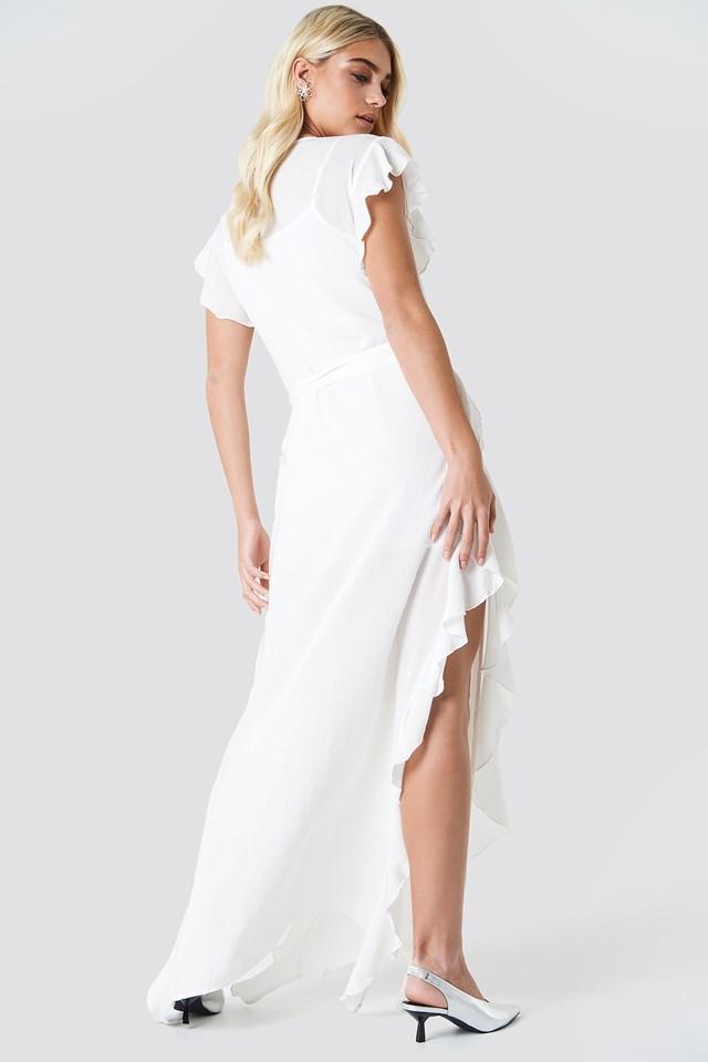Sheer Wrap Maxi Dress White