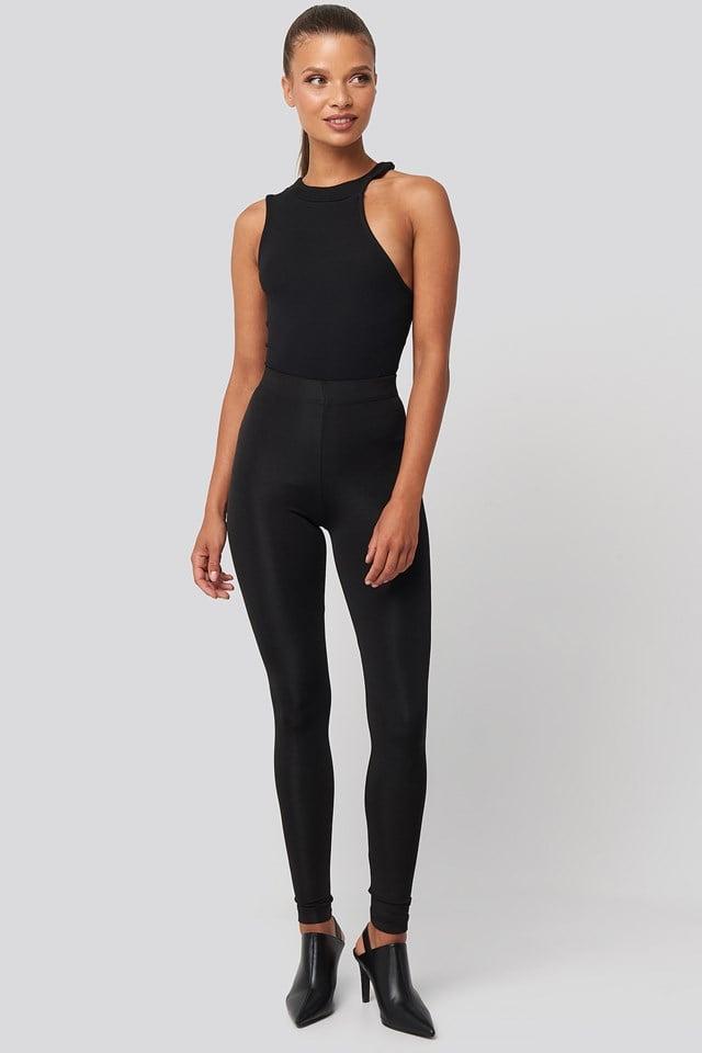 Shiny Disco Leggings Black