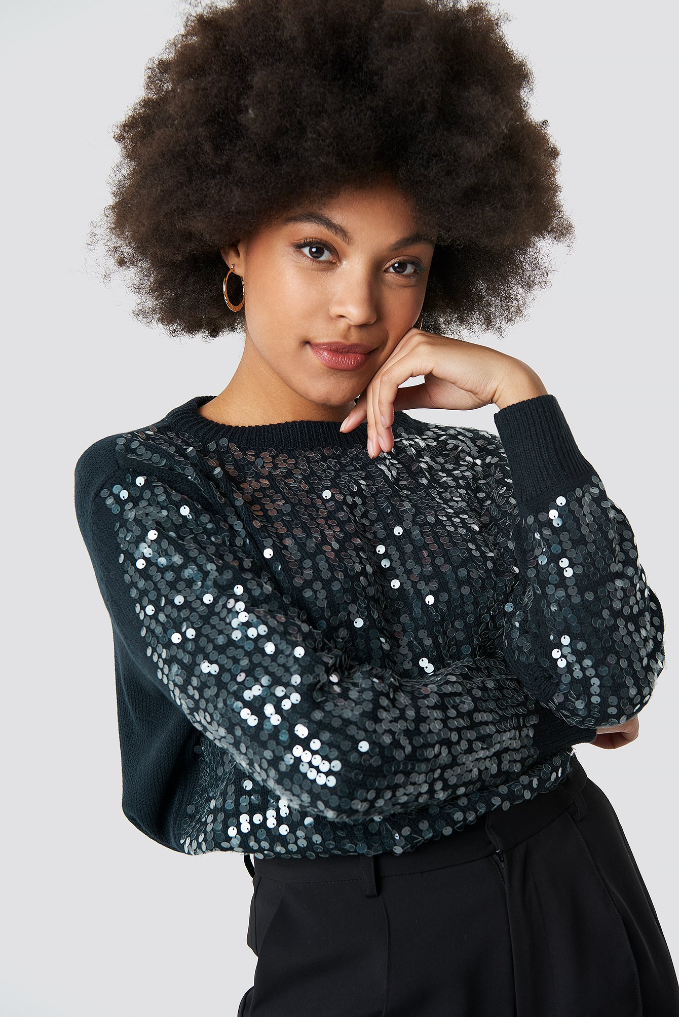 Navy Shiny Knitted Sweater