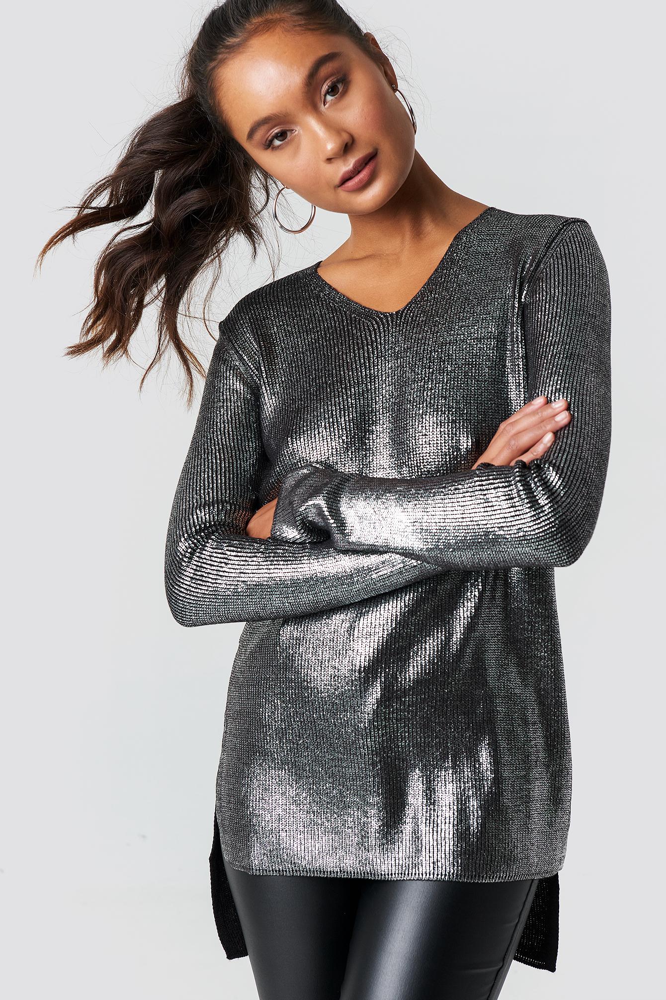 trendyol -  Shiny Long Sweater - Silver