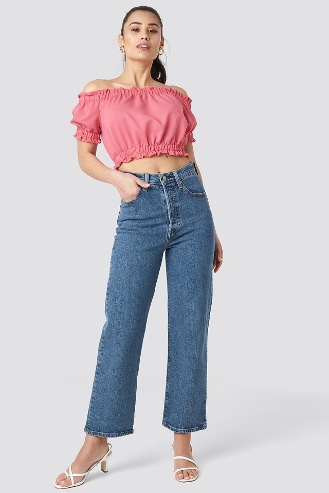 Shirred Crop Blouse Pink