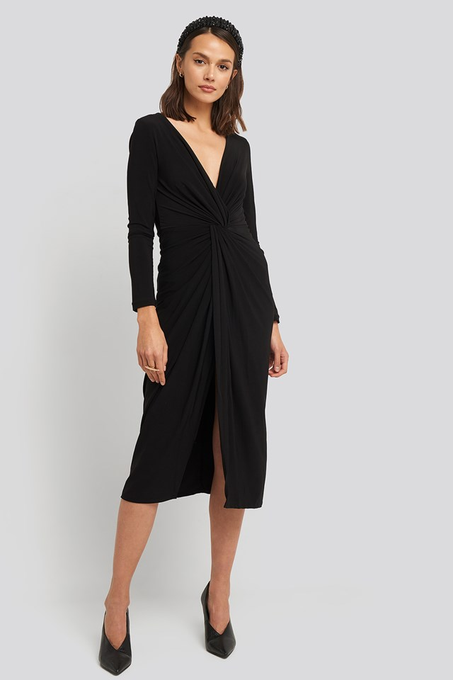 Shirred Detail Midi Dress Black