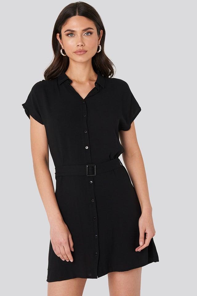 Belted Shirt Mini Dress Black