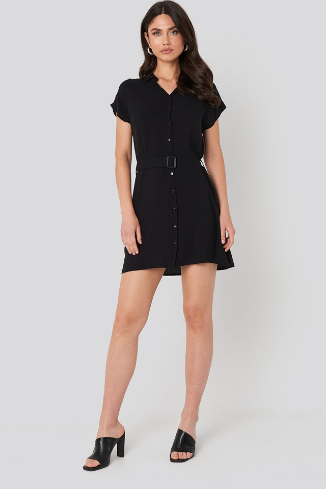 Belted Shirt Mini Dress Black
