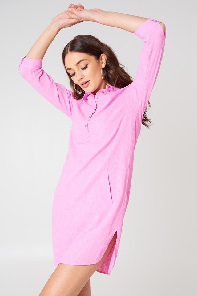 Shirt Slit Dress Pink