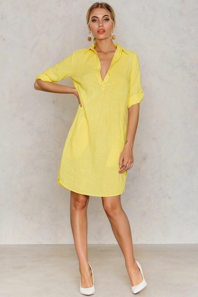 Shirt Slit Dress Yellow