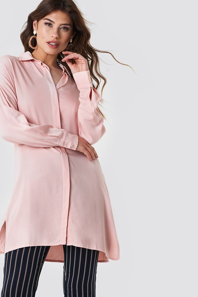 Shirt Slit Dress Powder Pink