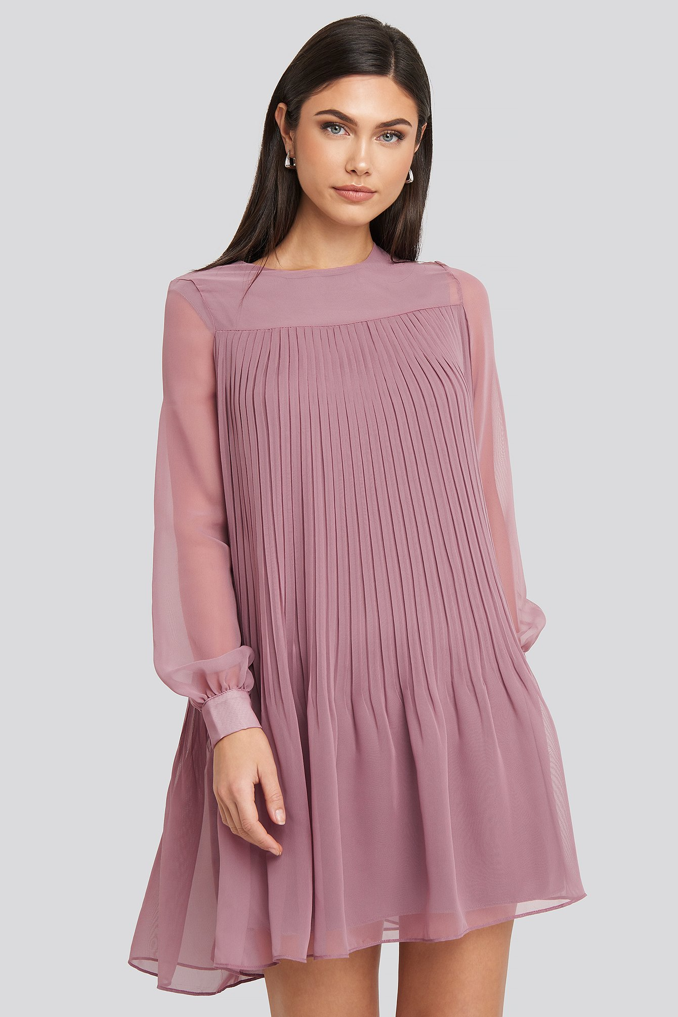 Short Pleated Dress Purple by Trendyol