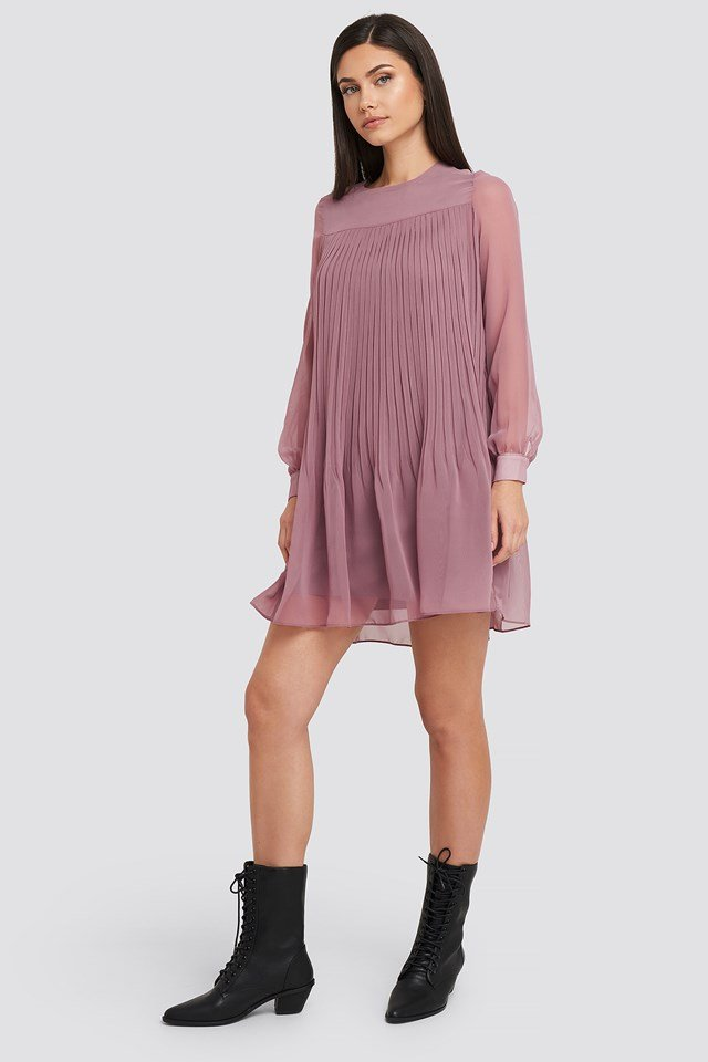 Short Pleated Dress Damson