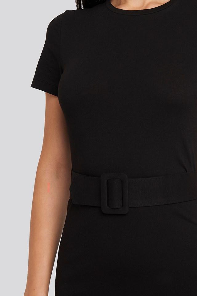 Short Sleeve Belted Mini Dress Black