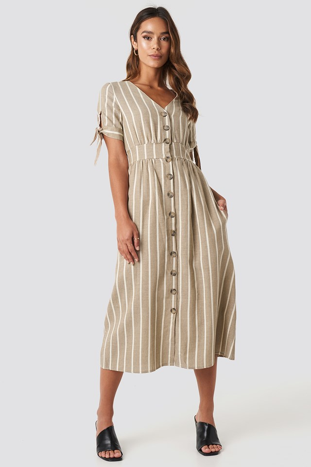 Short Sleeve Button Detailed Midi Dress Camel