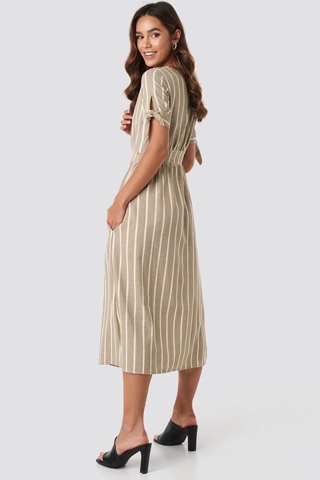Short Sleeve Button Detailed Midi Dress Camel