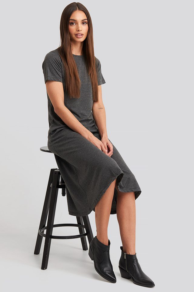 Short Sleeve Knitted Midi Dress Anthracit