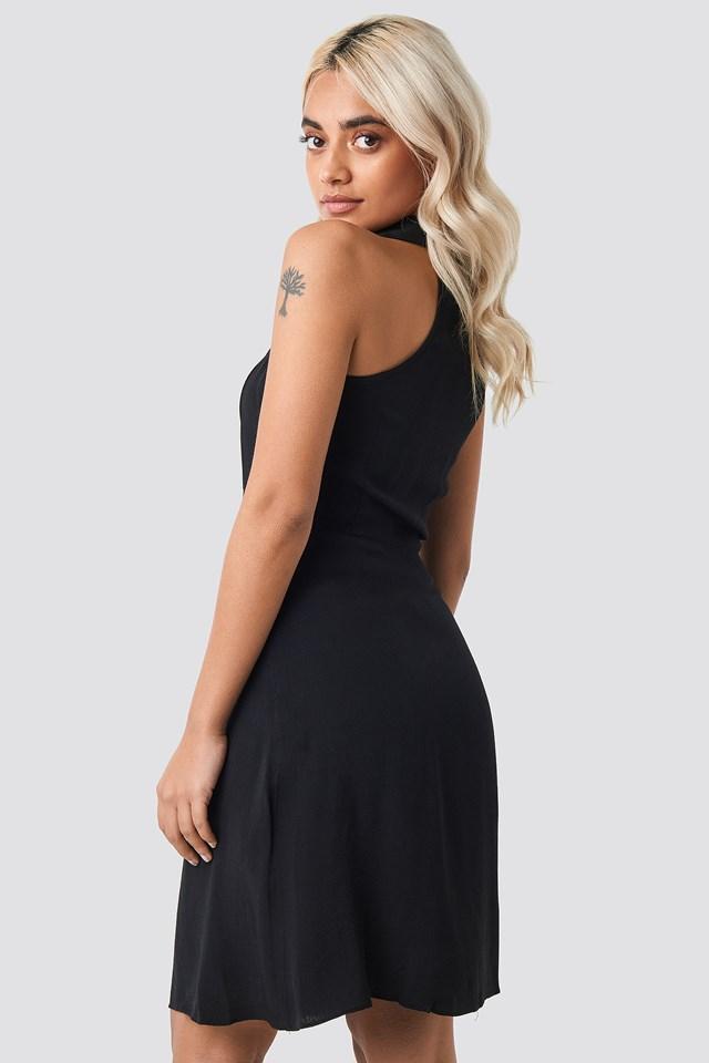 Shoulder Detail Mini Dress Black