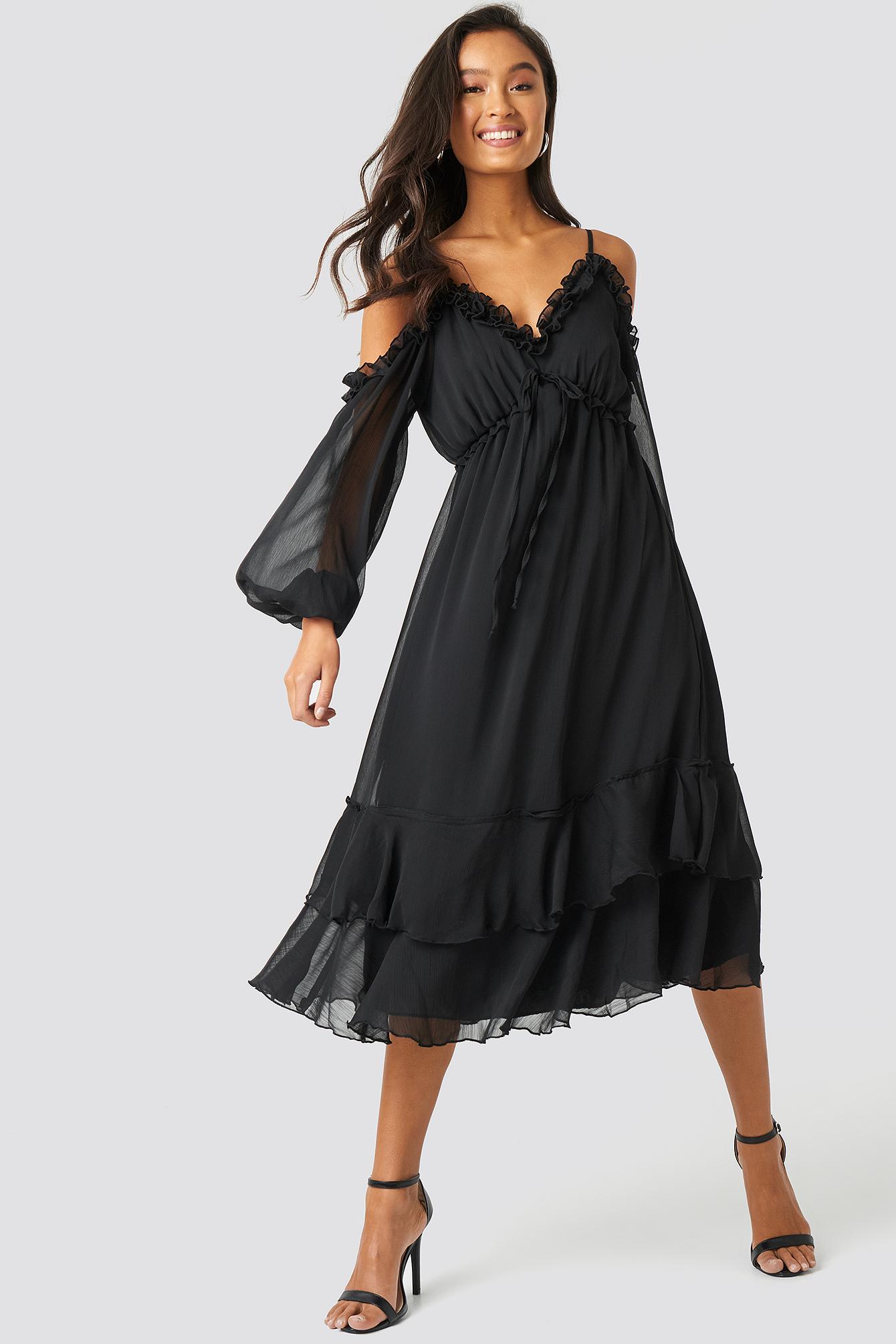 Shoulder Detailed Frilly Midi Dress NA-KD.COM