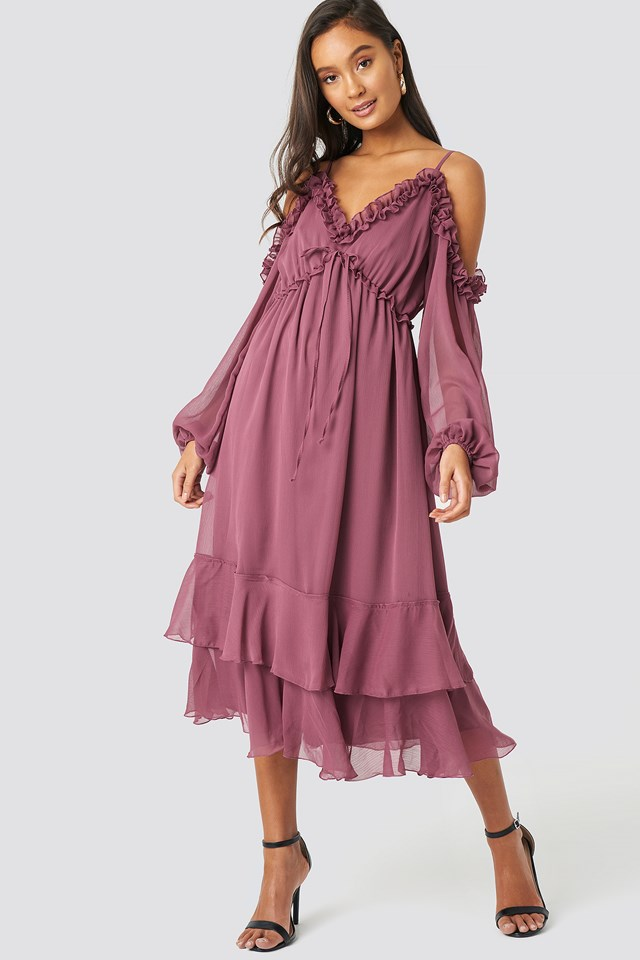 Shoulder Detailed Frilly Midi Dress Dusty Rose
