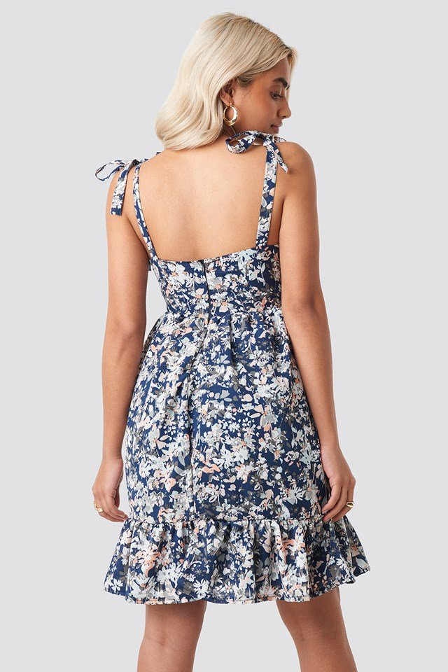 Shoulder Knot Mini Dress Multicolor