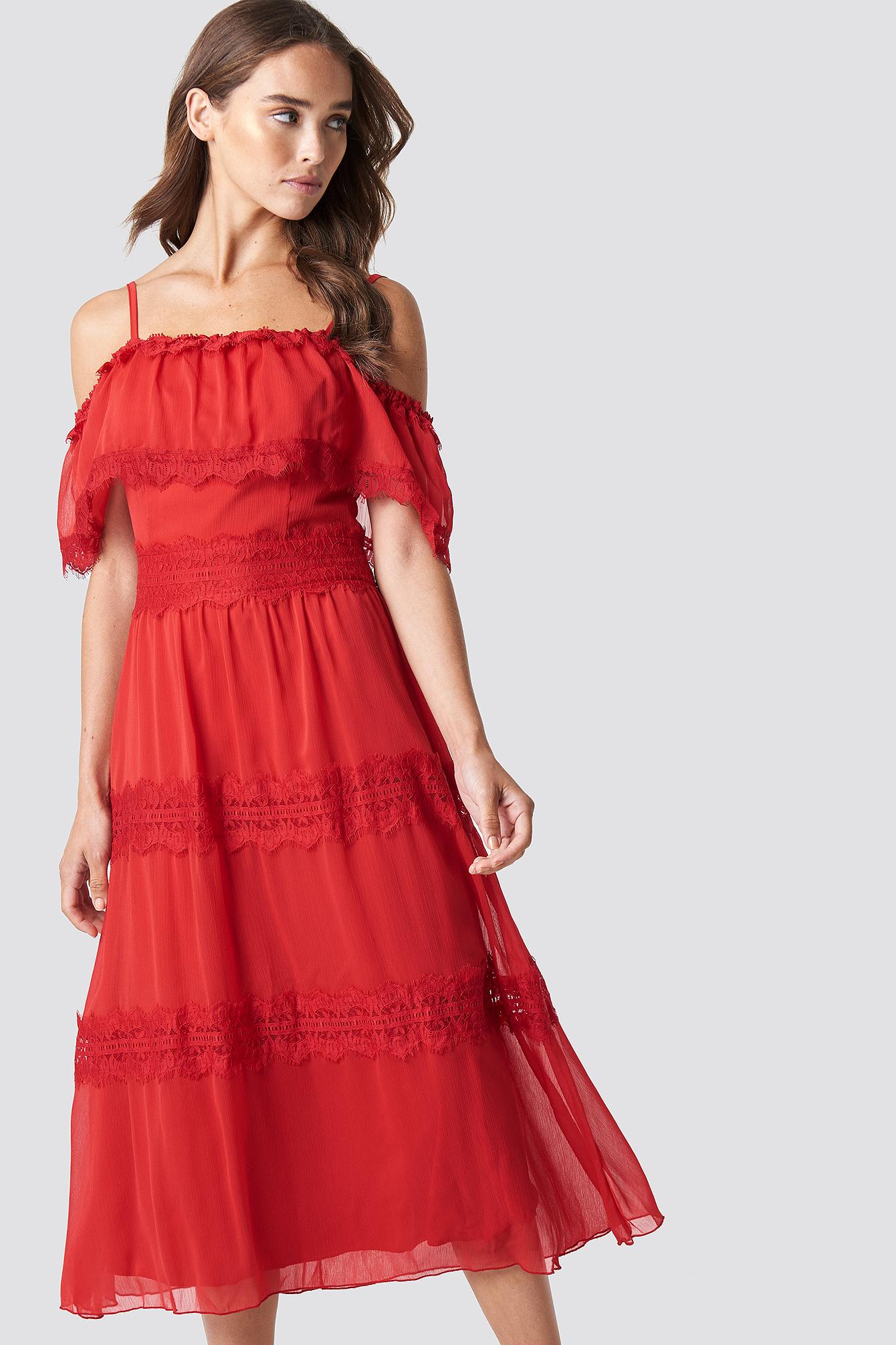 Shoulder Strap Lace Midi Dress NA-KD.COM