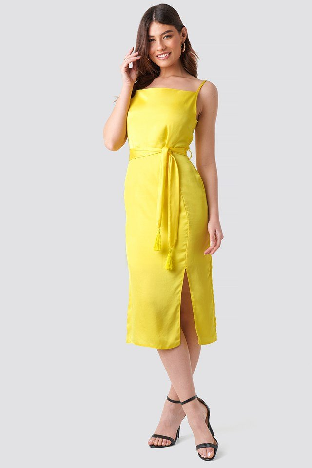 Shoulder Strap Midi Dress Yellow