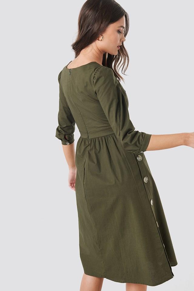Side Buttoned Dress Khaki