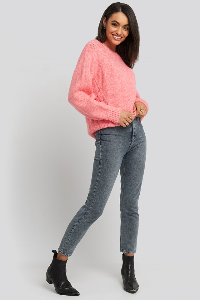 Side Knit Detail Sweater Pink