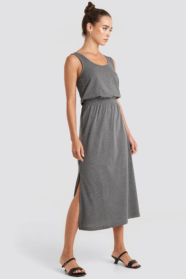 Side Slit Knitted Midi Dress Anthracite