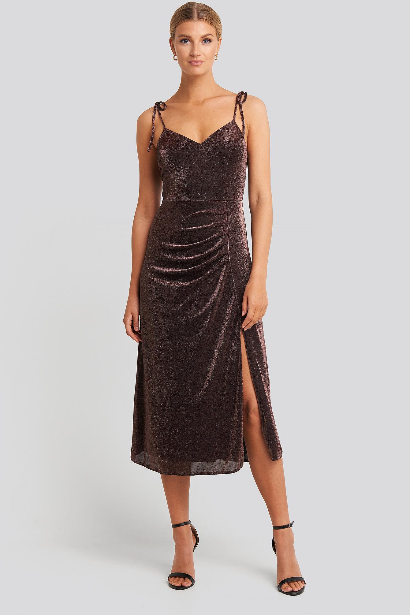 trendyol -  Side Slit Luminous Midi Dress - Brown