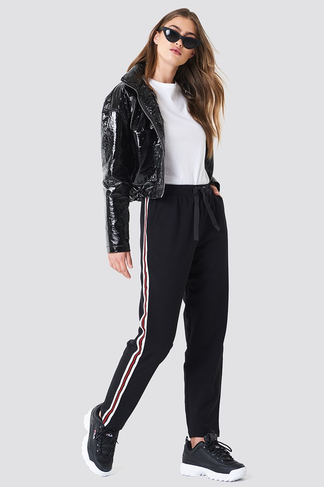 Side Stripe Jogger Pants Black