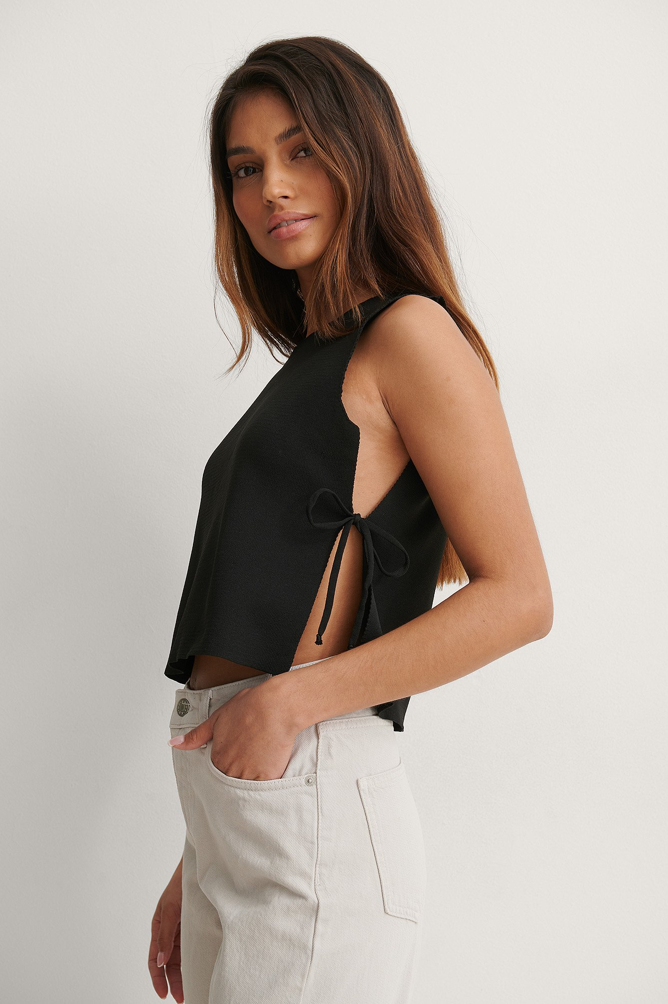 Black Side Tie Top