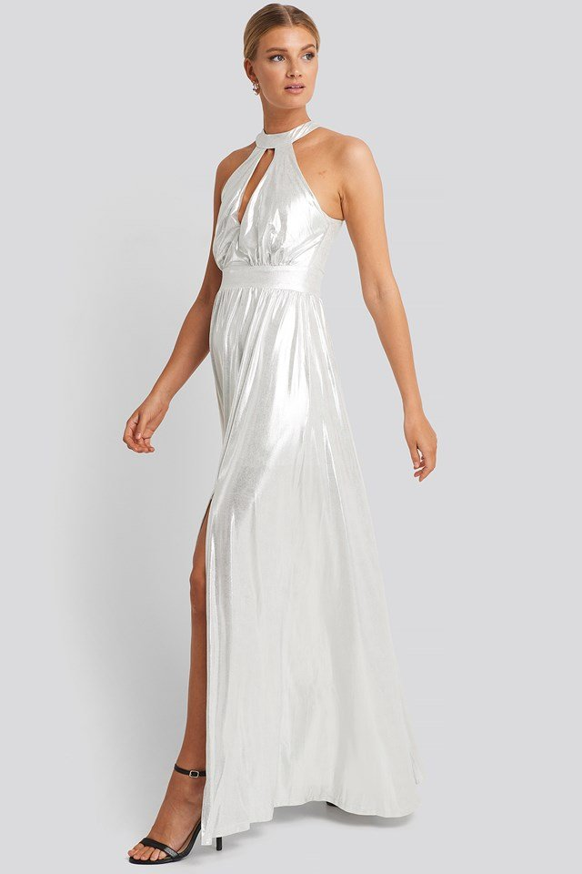 Silver Halter Neckline Evening Dress Silver