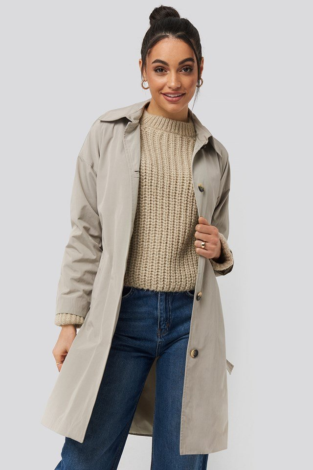 Silver Ring Belted Trench Coat Trendyol