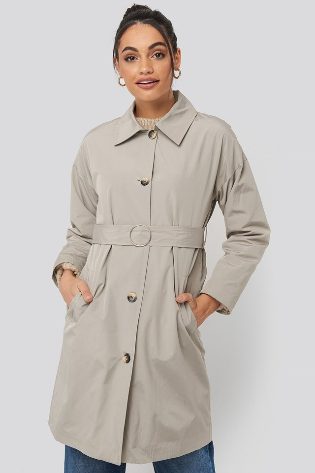 Silver Ring Belted Trench Coat Stone