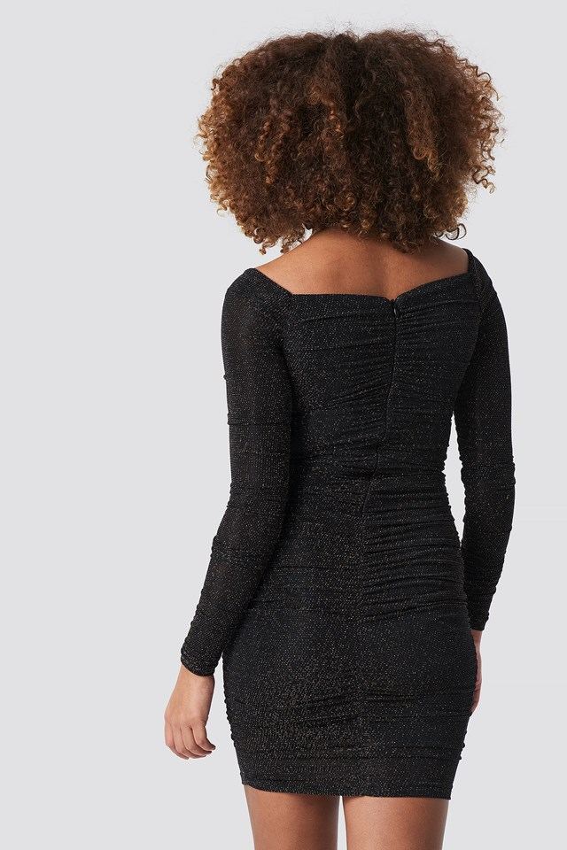 Silvery Effect Midi Dress Black