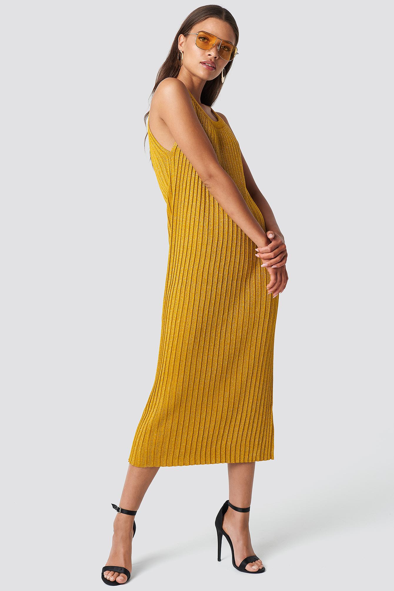 TRENDYOL SIMLI SWEATER DRESS - GOLD