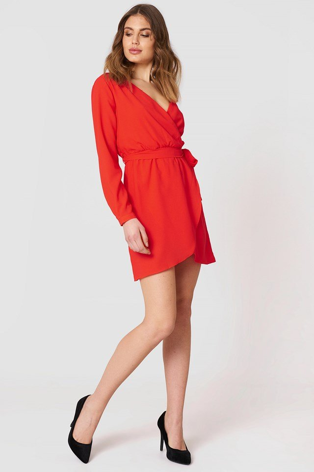 Single Arm Belted Dress Vermilion