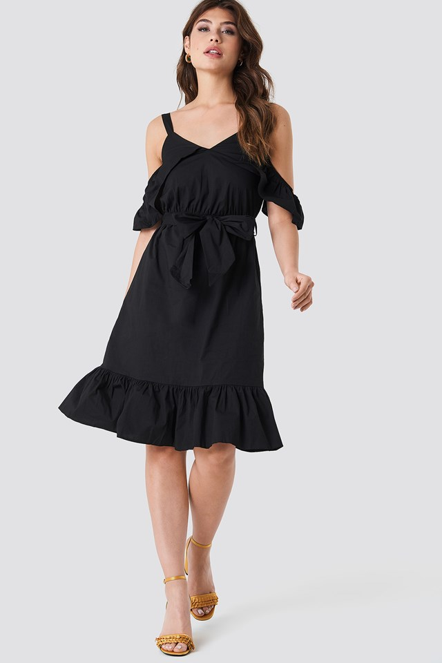 Siyah Frill Sheer Dress Black